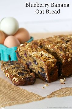 Blueberry Banana Oat Bread is healthy recipe with no oil! Delicious. by www.whatscookingwithruthie.com #recipes #bread