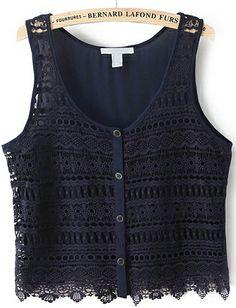 Navy Sleeveless Hollow Buttons Chiffon Vest 14.33