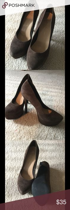 "Chocolate Suede Heels Chocolate suede, size 8, fits 7.5 better, heel height 5.25"", with 1.5"" platform Jessica Simpson Shoes Heels"