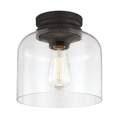 Hounslow Oil Rubbed Bronze One-Light Flush Mount with Clear Glass - for the entry way