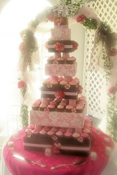 Custom Pink and brown cupcake Tower by christiescakery, via Flickr, made with foam covered in fabric.