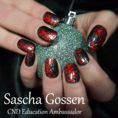 #CND #Shellac #CNDShellac #nailart #naildesign#OvertlyOnyx #stamps #foils #christmas #christmasnails #nails #winter #winternails #red #lava