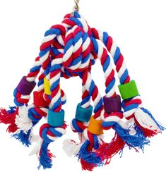 55094 Rope Jumble is good for your small or medium bird. This toy is irresistible as your bird is going to want to pull and tug at the knot filled rope and wooden beads all day long