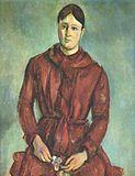 Madame Cezanne in a Red Dress - Paul Cezanne