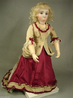 """Antique Rose Silk Lady Doll Dress for 12"""" inch French Fashion Bru Gildebrief. One of a kind dress made by Carol H. Straus 2014. Sold"""