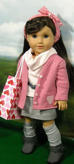 Valentine's Cardigan and Skirt Outfit for American Girls like Grace, Chrissa