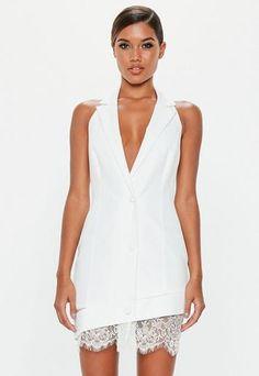 8e69c41613d4 Peace + Love White Halterneck Lace Hem Dress | Missguided Blazer Sans  Manches, Jacket Dress