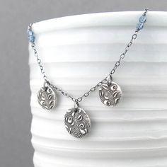 Sapphire Necklace Tiny Silver Necklace Simple by JenniferCasady