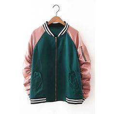 Yoins Pleats Sleeve Stripe Detail Zipper Jacket (130 BRL) ❤ liked on Polyvore featuring outerwear, jackets, tops, yoins, black, zip front jacket, zipper jacket, zip jacket, zip front bomber jacket and zip bomber jacket