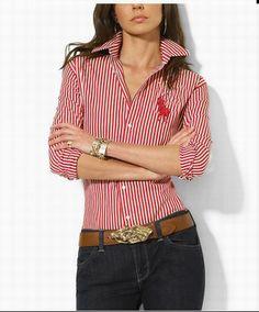 d618df3481e97 Camisa Ralph Lauren Mujeres Big Pony de manga larga rojo raya http   www