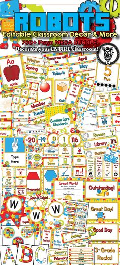 ROBOTS Classroom Theme / Decor / Organization Mega Bundle. Includes behavior chart, schedule cards, posters, classroom labels, binders, management tools, printable decorations, classroom organization and more! Back to school, new teachers, decoration, cute classrooms, fun colors!