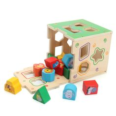 [US$23.64] Wooden Kids Montessori Educational Toy Animal Geometric Blocks Assemblage Game #wooden #kids #montessori #educational #animal #geometric #blocks #assemblage #game