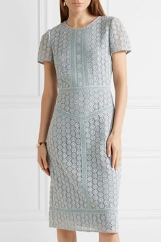 Burberry - Guipure Lace Midi Dress - Sky blue