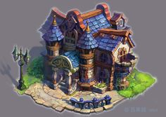 well, Personal practice, steam punk style street,the atmosphere was foul. Some building concepts were drawn from Final Fantasy IX and old disney animes.