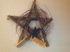 Wood prim star with twig wreath by hootnanniesbyjeanne on Etsy, $18.00