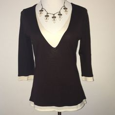NWT International Concepts sweater Brown and cream colored layered-look sweater. NWT. 70% silk, 30% cotton. Necklace not included but available in separate listing. INC International Concepts Sweaters V-Necks