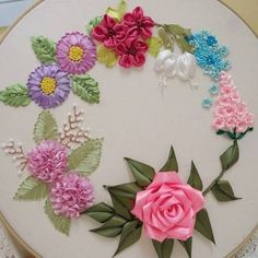 Wonderful Ribbon Embroidery Flowers by Hand Ideas. Enchanting Ribbon Embroidery Flowers by Hand Ideas. Brazilian Embroidery Stitches, Types Of Embroidery, Embroidery Thread, Embroidery Patterns, Ribon Embroidery, Embroidery Tattoo, Ribbon Art, Flower Crafts, Fabric Patterns