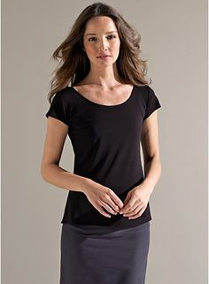 Eileen Fisher Scoop Neck Cap-Sleeve Top in Stretch Silk Jersey Elegant  Outfit a0763d5dc