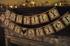 Wedding Banner Shower Bridal Happily Ever After  Anniversary  Garland Hanging Sign Photo Prop