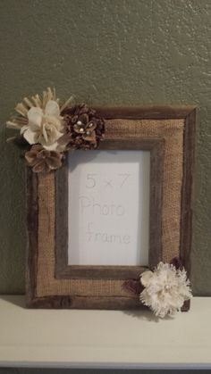 Barn Wood Rustic Picture Frame, Handmade burlap flowers, Shabby Chic, Photo Frame 5x7 on Etsy, $38.50