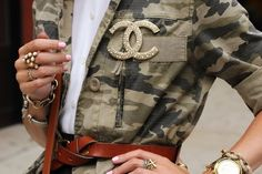 Crush on camo!  Love it with the Chanel pin!