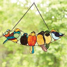 Feathered Friends Stained Glass Birds Window Hanging in Pottery & Glass, Glass, Art Glass Tiffany Stained Glass, Stained Glass Birds, Stained Glass Suncatchers, Tiffany Glass, Stained Glass Designs, Stained Glass Panels, Stained Glass Projects, Stained Glass Patterns, Glass Animals