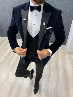Collection: Spring – Summer 2019 Product: Slim Fit Tuxedo Color Code: Blue Size: Suit Material: viscose, polyester Machine Washable: No Fitting: Slim-fit Package Include: Jacket, Vest, Pants Only Gifts: Shirt, Chain and Bow Tie Dry Clean Only Velvet Blazer Mens, Blue Velvet Suit, Mens Tuxedo Jacket, Tuxedo For Men, Men's Tuxedo, Female Tuxedo, Baby Tuxedo, Tuxedo Cake, Wedding Dress Men