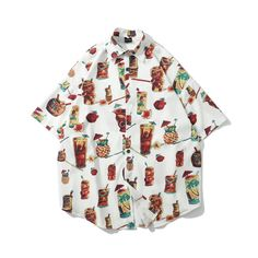 New Cartoon Print Shirt Hip Hop Japanese Street Thin Shirt Japanese Streets, Japanese Street Fashion, Tokyo Fashion, Japanese Outfits, Short Sleeve Button Up, Cardigan Fashion, Aesthetic Fashion, Size Clothing, Printed Shirts