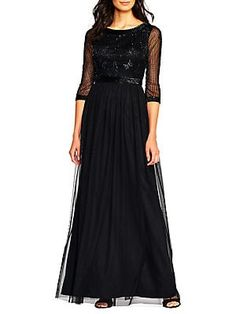 97638c7f Adrianna Papell Long Beaded Dress Adrianna Papell, Karl Lagerfeld, Black  Tie, Evening Gowns