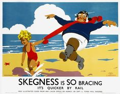 English Railway Travel Poster Art Print. Skegness is So Bracing, It's quicker by Rail