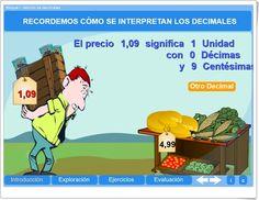 """""""Adición de decimales"""" (Aplicación interactiva de Matemáticas de Primaria) Decimal, Dual Language, Teaching Spanish, Family Guy, School, Fictional Characters, Random, Teaching Resources, Blue Prints"""