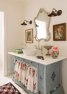 Looking for Cottage Bathroom ideas? Browse Cottage Bathroom images for decor, layout, furniture, and storage inspiration from HGTV. Wicker Dresser, Wicker Headboard, Wicker Bedroom, Wicker Furniture, Wicker Shelf, Wicker Table, Wicker Planter, Wicker Baskets, Wicker Couch