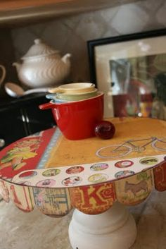 Cake Stand Tutorial using the lid of a hat box, wood pedestal, cute stationary paper, various paints/glue/sealer..