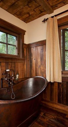 Traditional bathroom 531284087291966649 - Love this bath, cute idea for the little wood shelves on the side wall of the tub! Cabin 2 – traditional – Bathroom – Other Metro – Pearson Design Group Source by OfMovingWords Log Home Bathrooms, Rustic Bathrooms, Lodge Bathroom, Rustic Bathroom Designs, Primitive Bathrooms, Wood Bathroom, Bathroom Hardware, Bathroom Sinks, Sink Faucets