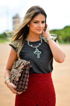 Meu Look - Lace Skirt! By Thássia Naves