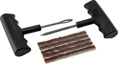 Victor's Heavy Duty Tubeless Tire Repair Kit includes T handle insert, rasp tools and five 4 inch heavy duty brown tire repair plugs. Bicycle Shop, Bike, Tubeless Tyre, Flat Tire, Easy Jobs, Stainless Steel Travel Mug, Repair Shop, Tools And Equipment, Automotive Tools