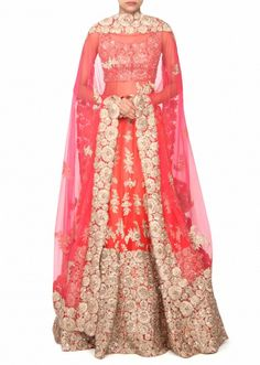 Coral lehenga adorn in zari and sequin embroidery only on Kalki