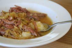 Pork and sauerkraut over cauliflower mash