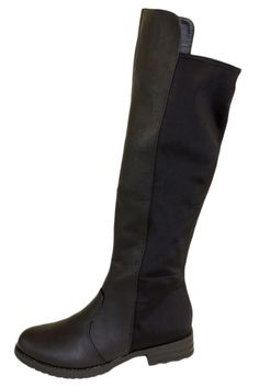 Black Faux Leather Knee High Boots With Elastic Paneling