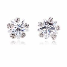 Star Cubic Zirconia Prong Setting Sterling Silver Plated Stud Earrings