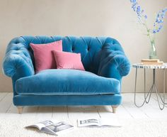 Bagsie love seat in our Teal Blue plush velvet
