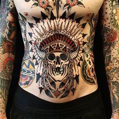 Native American Skull Tattoo by Jesper Jørgensen #nativeamericanskull #traditional #nativeamerican #traditionaltattoo #oldschool #oldschooltattoo #darkart #darktraditional #JesperJorgensen