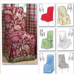 McCalls Home Furnishing / Decorative Sewing Pattern 4404 Chair Cover Essentials Dining Chair Covers, Furniture Covers, Sofa Covers, Dining Room Chairs, Diy Furniture, Kitchen Chairs, Parson Chair Covers, Metal Folding Chairs, Patterned Chair