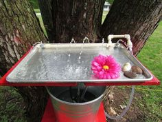 making a hummingbird water and bathing tray out of a cookie sheet, home maintenance repairs, pets animals, ponds water features Garden Globes, Do It Yourself Inspiration, How To Attract Hummingbirds, Attracting Hummingbirds, Water Features, Bird Houses, Green Houses, Bird Feeders, Bathing