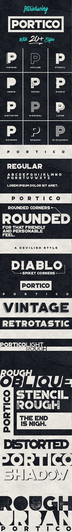 Portico is a display #typeface with a ton of styles. It includes uppercase multilingual letters, numbers and punctuation. The rounded and in-diagonal versions are great for more personable applications, the #urban and rough versions are great for all grunge #designs. ( #fonts #design #branding #print #vintage )