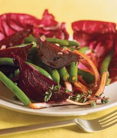Green Bean and Radicchio Salad with Roasted Beets and Balsamic Red Onions