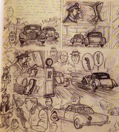 """""""Hergé. Sketches for abandoned Tintin Project, Tintin et le Thermozero, 1960 [source] """""""