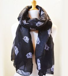 BLACK owl patterned scarf  womens fashion by OriginalDesignsByAR, $15.00