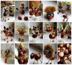 Billedresultat for kastanjedyr Christmas Crafts Sewing, Easy Halloween Crafts, Diy Crafts For Kids, Holiday Crafts, Acorn Crafts, Pine Cone Crafts, Manualidades Halloween, Pallet Christmas Tree, Autumn Crafts