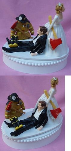 Wedding Cakes Toppers: Wedding Cake Topper Fireman Fire Fighter Axe Themed Grooms Top Boots Humorous BUY IT NOW ONLY: $64.99